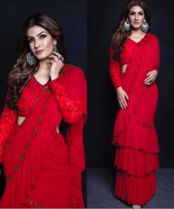 Ravina Red Ruffle Saree