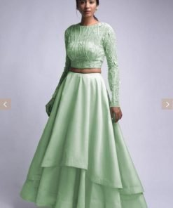 Mint Green Two Layers Crop Top (Semi-Stitch) wholesale price