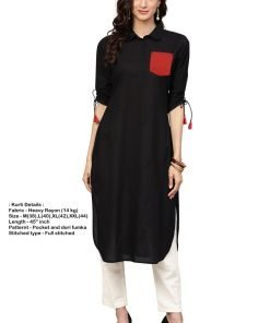 Buy Style Pocket Rayon Kurti green color for Women at wholesale price